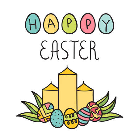 The composition of the Paschal candles and decorated eggs.Holiday decor.Cute hand lettering.happy Easter.Doodle style.The design of the cards.Vector illustration on a white background