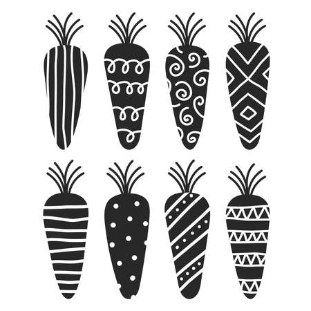 Cute stylized carrots for the Easter Bunny.Decor for restaurants and cafes.Healthy diet.Plant food.Isolated elements, silhouettes of vegetables on a white background.Hand vector illustration