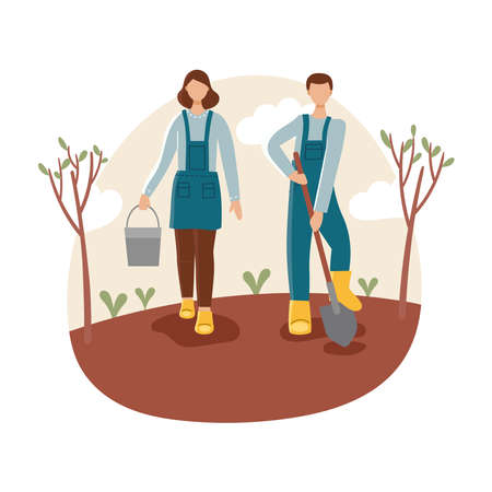 Man and woman in the garden.Spring gardening, planting. Иллюстрация