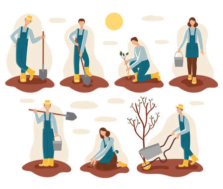 Men and women in the garden.Gardening and spring planting.In their hands, buckets, shovels, wheelbarrow, seedlings, seeds.Land, dig, fertilizer, soil.A set of seven people.Flat vector illustration Çizim