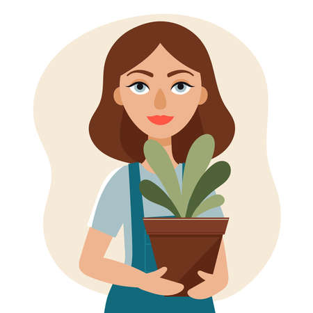 A young beautiful woman holds a pot with a plant in her hands.Gardening, Hobbies, spring activity, country, indoor.Flat vector illustration Vektorové ilustrace