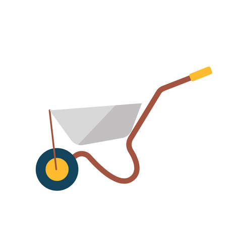 Garden wheelbarrow.The equipment for work in the garden.Spring planting.Flat vector isolated illustration on a white background. 일러스트