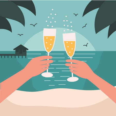 Date on the beach. The concept of a vacation of rest and relaxation.Mens and women s hands hold champagne glasses.Love and romance in a tropical country.Flat vector illustration Illusztráció