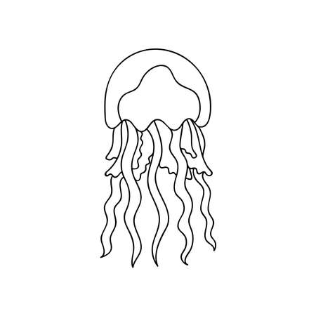 Doodle Jellyfish for coloring.Sea animals for children s coloring pages.Hand drawn vector illustration isolated on white background Ilustracje wektorowe