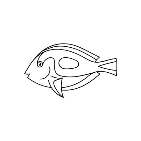 Doodle coral fish for coloring.Sea animals for children s coloring pages.Hand drawn vector illustration isolated on white background