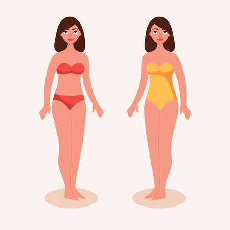 Girls in bathing suits. Woman brunette in bikini. Female figure in full growth. Two types of bathing suits. Flat vector illustration. Çizim