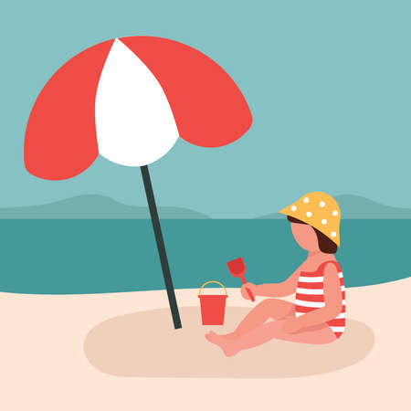 Little girl plays in the sand by the sea, holds a scoop in her hands. A child under a sunny umbrella. Protection from the sun. Flat vector illustration.
