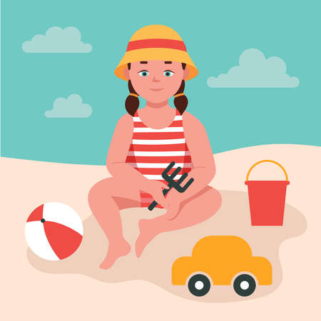 Little girl plays in the sand by the sea, holds a toy rake in her hands. A child in a panama hat, toys, a bucket, a ball, a machine. Summer fun. Flat vector illustration.