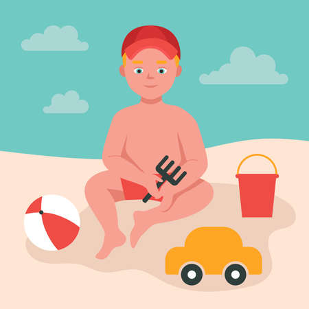 Little boy plays in the sand by the sea, holds a toy rake in her hands. A child in a cap, toys, a bucket, a ball, a machine. Summer fun. Flat vector illustration.