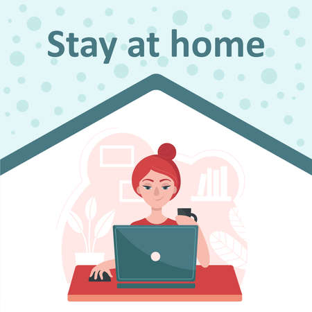 Girl with a laptop sits at a table. Concept of freelance, job at home. Stay at home. Prevention of coronavirus. Temporary isolation, quarantine. Flat vector illustration.