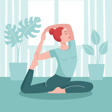 Young woman practices yoga at home. The concept of prevention of coronavirus, isolation and quarantine. Prevention of an epidemic. Stay home and do sports. Flat vector illustration.