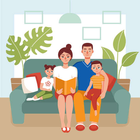 Family sitting on the couch and reading a book. Mom,dad,son and daughter stayed at home.Concept of quarantine, coronavirus prevention, isolation, love books, home activity.Flat vector illustration. Ilustración de vector