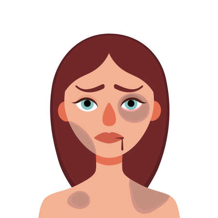 Sad young woman with bruises and wounds on a white background.Concept of domestic violence, sexual abuse in the family, bullying, social problem, aggression against women.Vector cartoon illustration Illustration