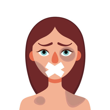 Sad young woman with bruises and wounds with a closed mouth on a white background.Concept of domestic violence, sexual abuse in the family, bullying, silence and fear .Vector cartoon illustration