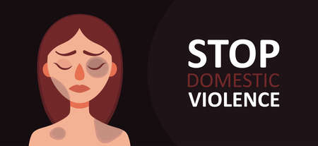 Sad woman with bruises and wounds on a dark background.Concept of domestic violence,sexual abuse in family,bullying,aggression on women.Banner for web site,social media.Vector cartoon illustration Illustration