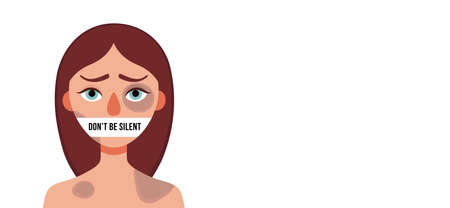 Sad woman with bruises wounds with closed mouth on white background.Concept of domestic violence, sexual abuse in family,bullying,silence,fear .Banner web site,social media.Vector cartoon illustration Illustration