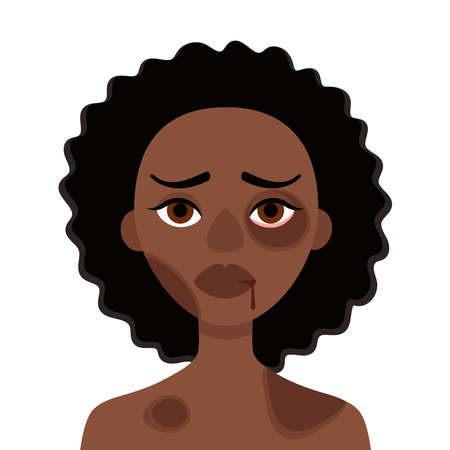 Sad african woman with bruises and wounds on a white background.Concept of domestic violence, abuse in the family, bullying, social problem, aggression against women.Vector cartoon illustration Vecteurs