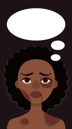 Sad african woman with bruises and speech bubble on dark background.Concept of domestic violence,sexual abuse in family, bullying,aggression women.Vector cartoon illustration.Story format social media