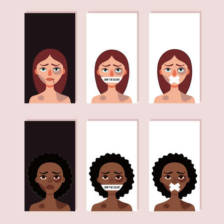Set of vertical banners for story. Concept of domestic violence, bullying, hushed up problems, victimization. White and african battered woman .Vector illustration