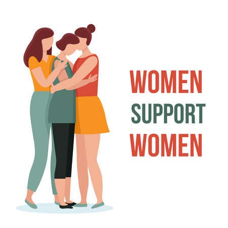 Three women in hugs. Concept of female support. Woman in difficult circumstances, victim of family and sexual violence. Psychological and friendly help. Cartoon vector illustration.