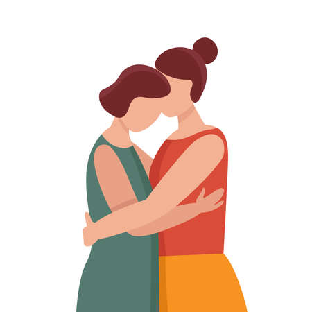 Two women in hugs. Concept of female support. Woman in difficult circumstances, victim of family and violence. Psychological and friendly help. Cartoon vector illustration.