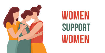 Three women in hugs. Concept of female support. Woman in difficult circumstances, victim of family and sexual violence. Psychological and friendly help.Web banner.Cartoon vector illustration. Illustration