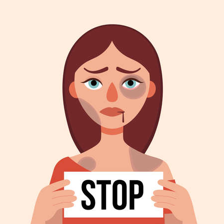 Sad young woman with bruises and wounds on a white background.Holding leaf with words Stop.Concept domestic violence, sexual abuse in the family, bullying,aggression women.Vector cartoon illustration Illustration