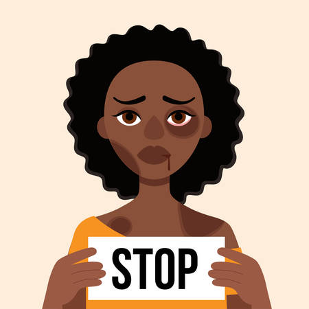 Sad african woman with bruises and wounds on a white background.Holding leaf with words Stop.Concept domestic violence, abuse in the family,bullying,aggression women.Vector cartoon illustration