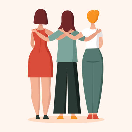 Three women in hugs.View from the back.Concept of female support. Woman in difficult circumstances, victim of family and sexual violence. Psychological and friendly help. Cartoon vector illustration. Ilustracja