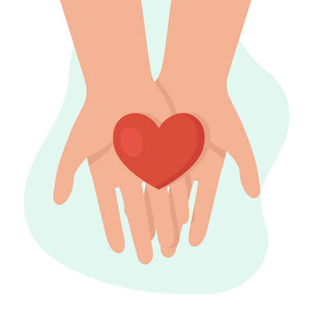 Human hands holding a heart. Concept of help, support, charity. Charity fund. Support for women in difficult situations. Vector cartoon illustration.