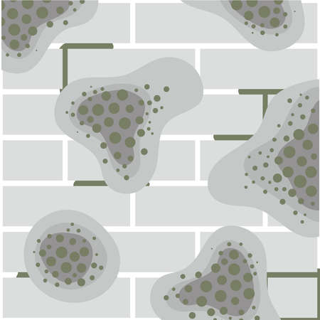 Gray ceramic tiles with mold spots. Humidity in the bathroom. Toxicity of mold spores, health hazard. Means of combating dangerous fungi and bacteria. Flat vector illustration.