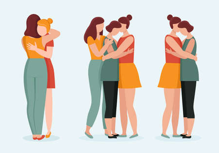 Women in hugs. Concept of female support. Woman in difficult circumstances, victim of family and sexual violence. Psychological and friendly help. Cartoon vector illustration.