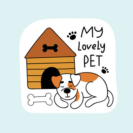 Cute dog sleeps near the house. A stone lies nearby. Pets. Hand drawn vector illustration.  イラスト・ベクター素材