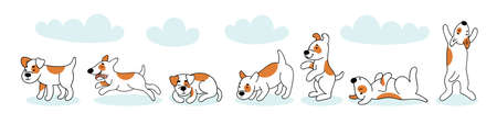 Cute funny dog in different poses. Sleeping, running, lying, jumping dog. Set of vector doodle illustration with pets. Hand illustration.