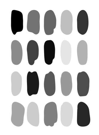Set of black and white hand brush strokes. Stains of paint or ink. Stickers for interior decor. Vector illustration isolated on white background. Ilustracja