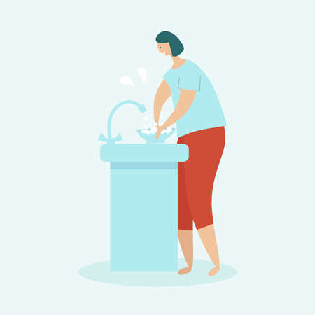 Woman cleaning the house. Housewife washing dishes in the sink. The concept of home cleaning and cleanliness. Flat vector illustration on a light blue background.