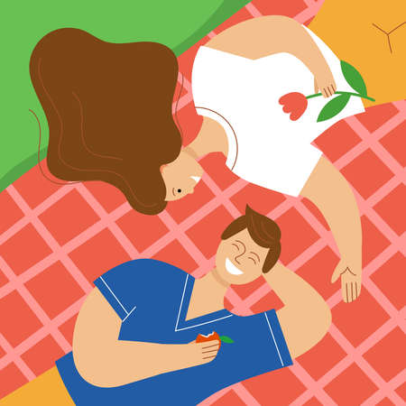 Loving couple having a picnic in the park. A man and a woman lie on a plaid and laughing. The concept of relaxing on a weekend in spring or summer. Flat color vector illustration.