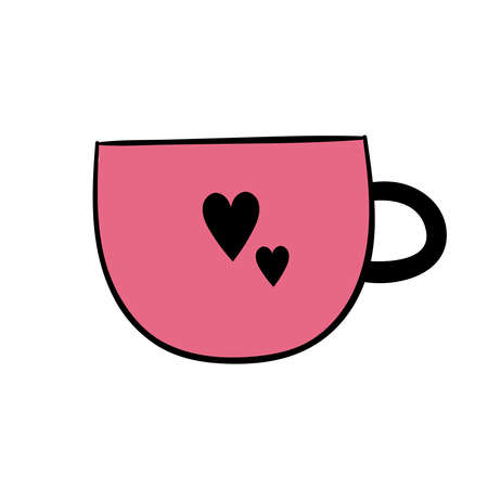 Cute pink coffee mug with hearts. Vector hand doodle illustration for restaurant or coffee shop. Good morning, breakfast, drink, coffee, tea. Illustration