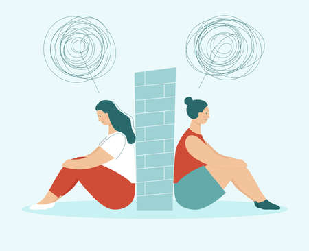 Two sad women in quarrel sitting back to back. Between them wall. Concept of problems in partnership, friendship and love relationships. LGBT couple. Flat vector illustration isolated.