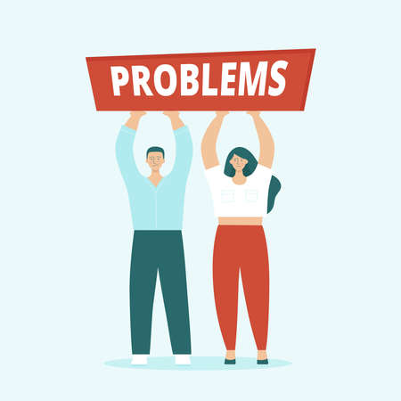 Adult man and woman, husband and wife are having serious problems. Concept of family quarrels, conflict, relationship problems, divorce. Flat vector illustration isolated.