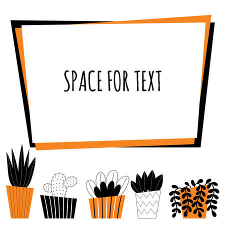 Vector indoor plants. Home decor, gardening, potted flowers. Room decoration. Stylized design illustration on a white background. Space for text.