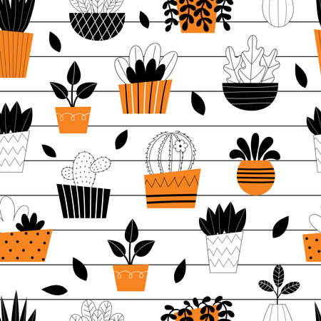 Seamless pattern indoor room plants. Potted flowers. Stylized home plants. Home decor and interior. Succulents, monstera, cacti. Illustration isolated on white background. Ilustrace