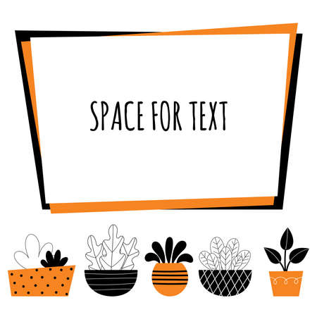 Vector indoor plants. Home decor, gardening, potted flowers. Room decoration. Stylized design illustration on a white background. Space for text. Ilustrace