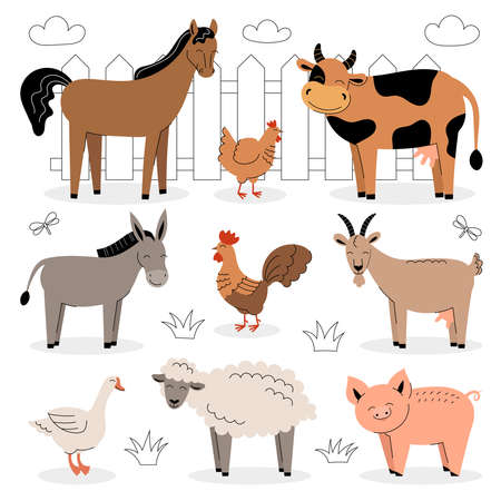Farm animals on a white background. Collection of cartoon cute baby animals and birds. Cow, sheep, goat, horse, donkey, pig, chicken, rooster, goose. Flat vector illustration isolated.