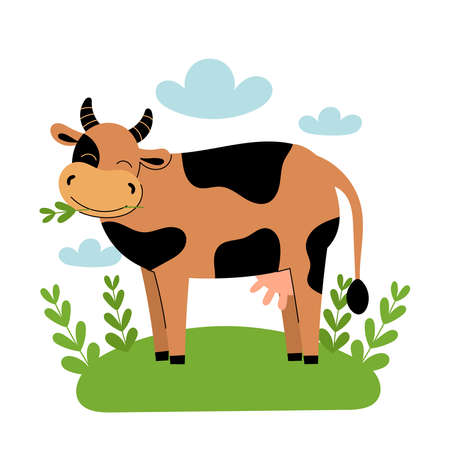 Cute brown cow stands in the meadow. Cartoon farm animals, agriculture, rustic. Simple vector flat illustration on white background with blue clouds and green grass.