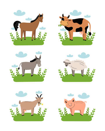 Farm animals on meadow on white background. Collection of cartoon cute baby animals on green grass.Cow, sheep, goat, horse, donkey, pig. Flat vector illustration isolated. 向量圖像