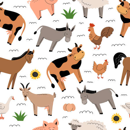 Farm animals seamless pattern on white background. Collection of cartoon cute baby animals and birds. Cow, sheep, goat, horse, donkey, pig, chicken, rooster, goose. Flat vector illustration isolated.