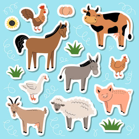 Farm animals stickers. Collection of cartoon cute baby animals and birds. Cow, sheep, goat, horse, donkey, pig, chicken, rooster, goose. Flat vector illustration on blue background 向量圖像