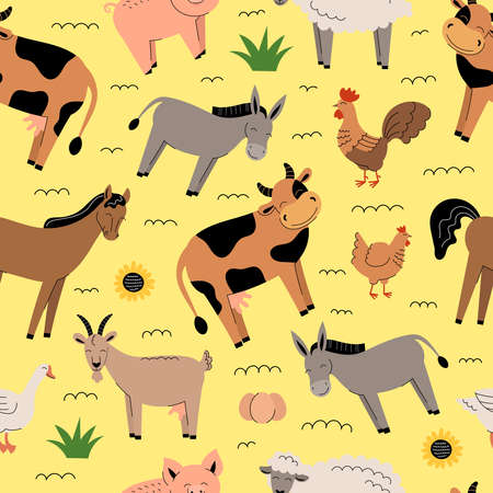 Farm animals seamless pattern on yellow background. Collection of cartoon cute baby animals and birds. Cow, sheep, goat, horse, donkey, pig, chicken, rooster, goose. Flat vector illustration isolated.