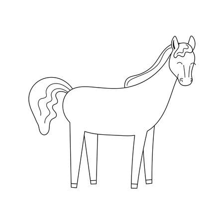 Cute contour doodle horse. Horseback riding. Illustration for childrens coloring book. Vector isolated on white background